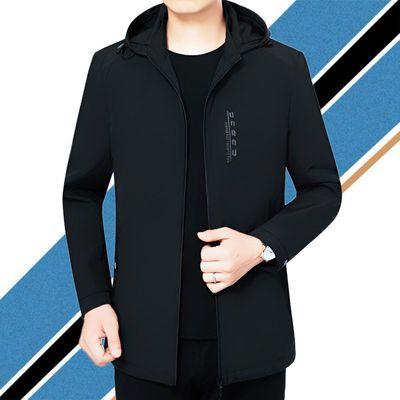 2020春秋新款男士中年爸爸装短款连帽休闲外套薄款上衣潮流夹克衫