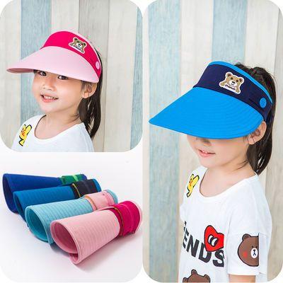 童帽子男童女童夏天防晒儿童太阳帽大檐空顶帽潮亲子宝宝遮阳帽儿