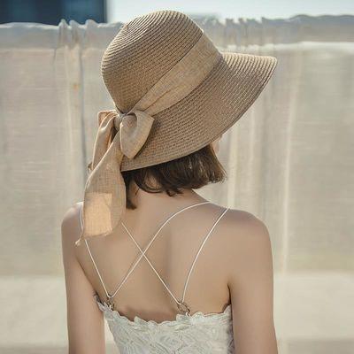 太阳帽女防晒防紫外线夏天帽子时尚遮阳草帽韩版百搭潮流沙滩凉帽
