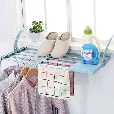 抖音窗台晾衣架暖气片晒鞋架可伸缩阳台窗外置物架窗户小型晒衣架