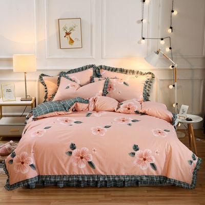 网红款床裙款四件套韩版公主风床套双人被套少女心床罩式床品套件
