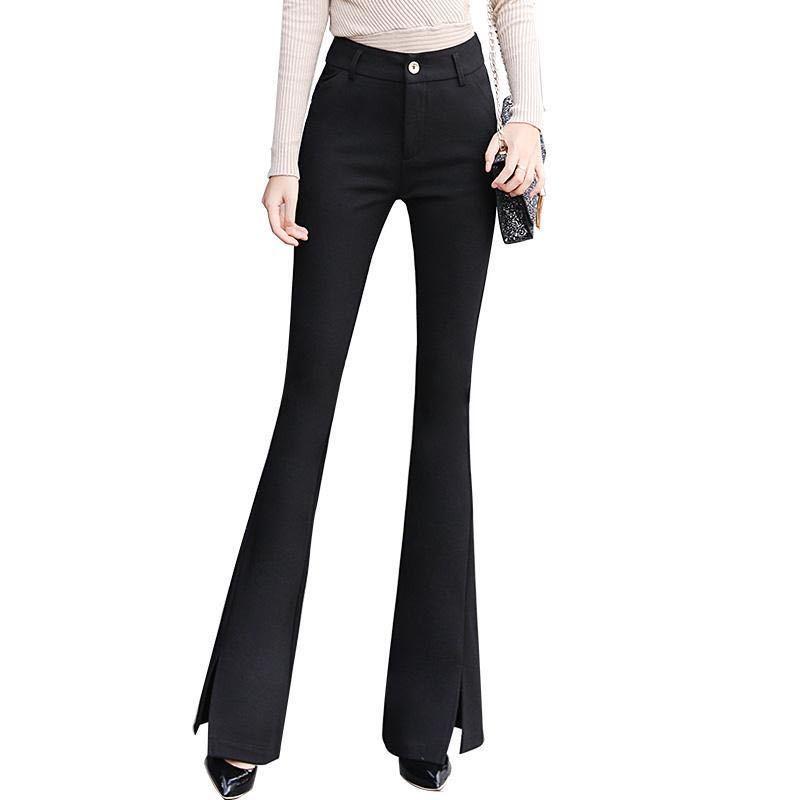 热卖新款喇叭裤女春季新款韩版高腰修身黑色长裤开叉微喇裤垂感休
