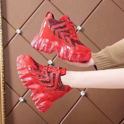 内增高老爹鞋女春季新款2020网红百搭ins超火红色亮片高跟运动鞋