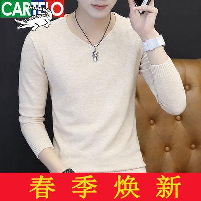 【高品质】春秋针织衫长袖t恤男士V领圆领薄款毛衣韩版纯色打底衫