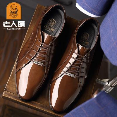 正品老人头皮鞋男春夏季真皮商务正装皮鞋英伦尖头婚鞋透气皮鞋男