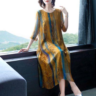 妈妈装真丝连衣裙女2020夏装新款大码遮肚减龄阔太太高贵过膝裙子