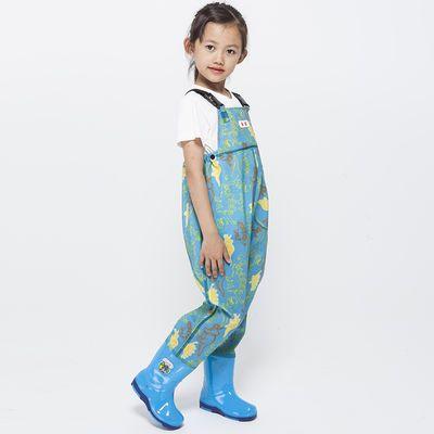 精渔优款儿童玩水连体下水裤抓鱼小孩男女沙滩雨裤防水衣服靴雨鞋