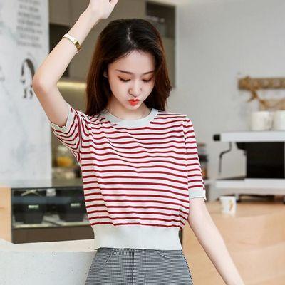 小个子短款条纹针织衫短袖女春夏季新款韩版修身尚百搭上衣