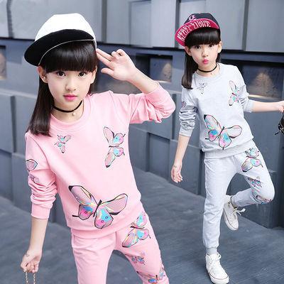 【叮叮鸭】童装女童春装两件套2017新款大童儿童运动女童AW蝴蝶套