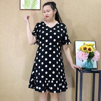 胖妹妹大码女装2020夏季新款V领波点时尚减龄雪纺宽松显瘦连衣裙