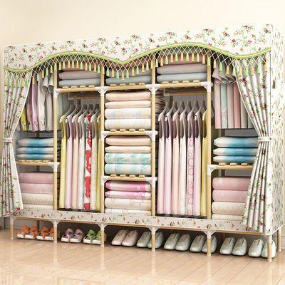 组装简易衣柜实木布衣柜收纳架大号衣橱单双人柜子储物挂衣架折叠
