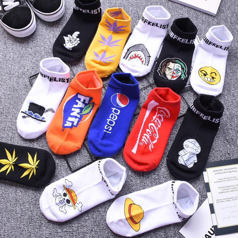 3/6双袜子男女短袜ins卡通潮街头嘻哈运动风韩版春夏男士船袜低帮
