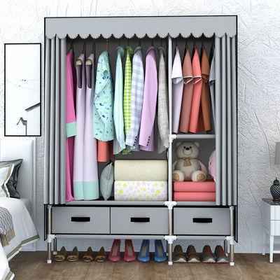 家居11740宜家衣柜简易布衣柜钢管加粗加固双人组装折叠加厚大号