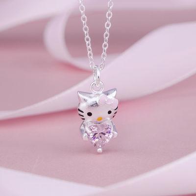 儿童卡通Hello Kitty项链女 公主镀银水晶宝石吊坠女童时尚锁骨链