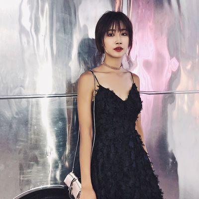 黑色晚礼服女羽毛吊带长裙显瘦晚宴聚会生日派对年会礼服2020新款