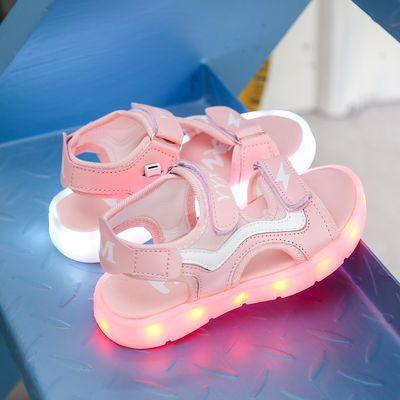 充电发光鞋男童七彩灯鞋子女童儿童鞋抖音凉鞋魔术贴闪光夜光鞋潮