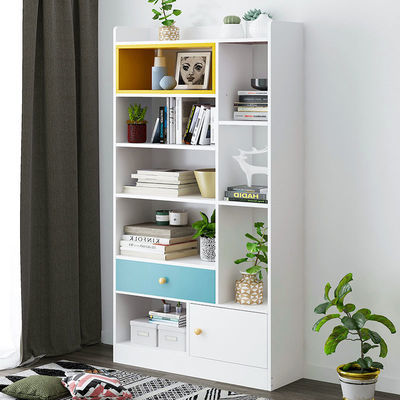 书架简易落地书柜简约收纳架置物架子家用学生小储物柜书房小柜子