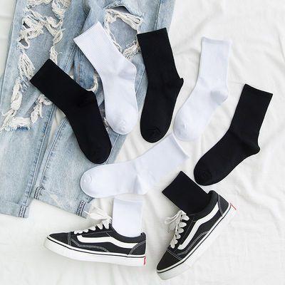 3双装袜子女中筒袜黑白色日系纯棉百搭长筒ins潮男士长袜夏季薄款