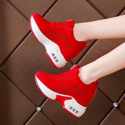 内增高女鞋10cm网红春季2020新款韩版百搭显瘦飞织网面透气运动鞋