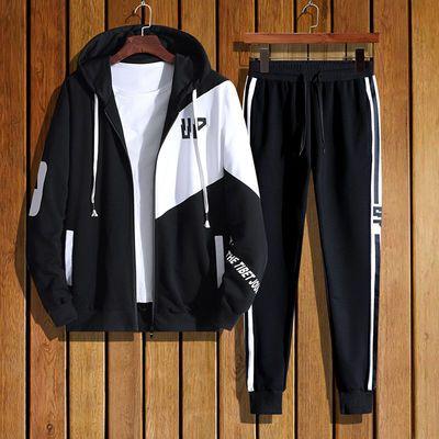 2020新款棉质春季套装男青少年韩版休闲套装 10-18岁男学生运动装