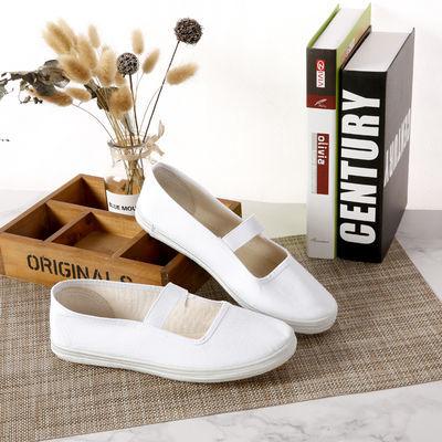 白球鞋白网鞋男女帆布鞋学校指定白布鞋小白鞋体操鞋表演白鞋