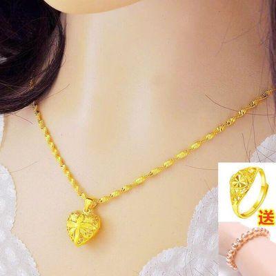 越南沙金项链女镀金项链转运珠爱心吊坠百搭锁骨链饰品久不褪色