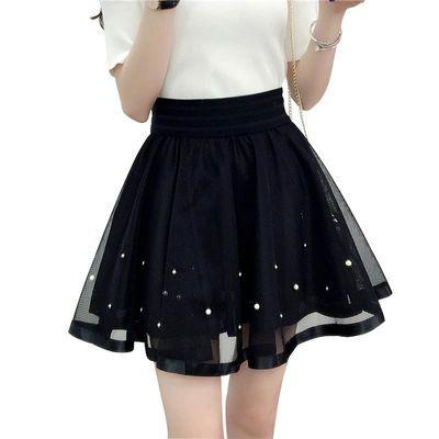 2020夏季新款蕾丝短裙女网纱半身裙A字伞裙裤裙高腰黑色蓬蓬裙子
