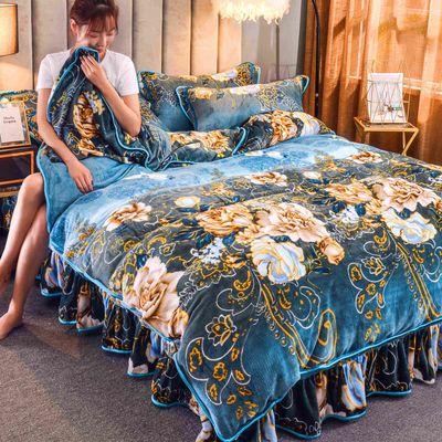 加厚珊瑚绒四件套金貂绒保暖冬季法兰绒被套床上用品三件套床裙款