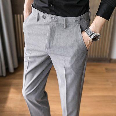 夏季薄款男士商务休闲免烫西装裤子韩版修身弹力直筒小脚西裤男潮
