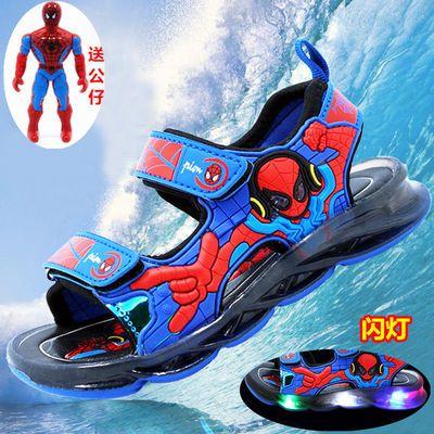 蜘蛛侠夏季凉爽儿童发光闪灯男童亮灯童鞋凉鞋男童带灯沙滩鞋