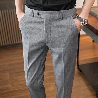 夏季薄款男士商务休闲格子免烫西装裤韩版修身弹力直筒小脚西裤男