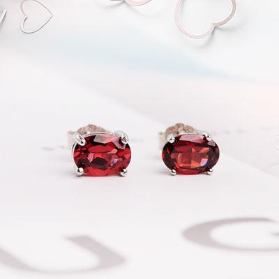 【可选顺丰配送】天然纯石榴石水晶宝石S925银耳钉女生式款可爱韩
