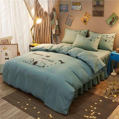 床裙式四件套纯色简约床罩床笠款卡通被套四件套防滑床单公主风