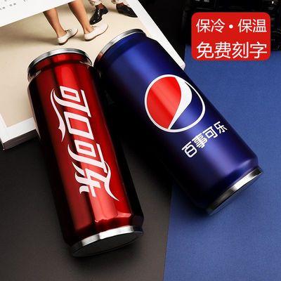 个性创意韩版可乐易拉罐不锈钢保温杯男女学生可爱简约吸管水杯子