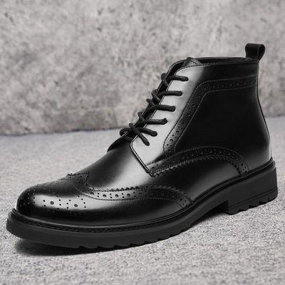 男士布洛克皮鞋高帮商务英伦真皮韩版潮流男鞋皮靴马丁靴中帮短靴