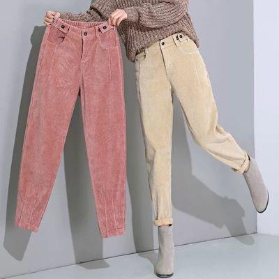 秋季老爹裤女裤宽松条绒哈伦裤高腰松紧腰萝卜裤灯芯绒新款休闲裤
