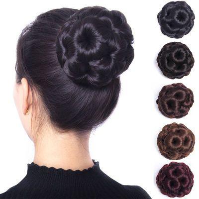 假发发包盘头花苞发饰抓夹式九朵花丸子头盘发器卷发包五色发圈
