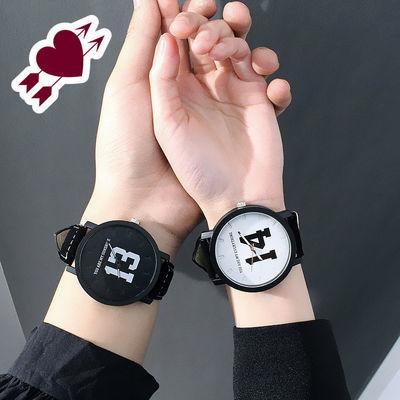 1314时尚简约韩版情侣表一对潮百搭男女学生早安晚安皮带石英手表