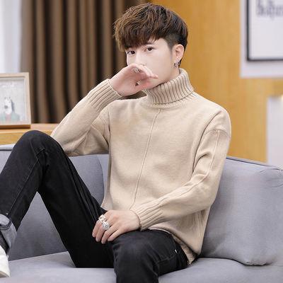秋冬男士高领毛衣青少年宽松毛线衣学生加厚红色打底针织衫套头潮