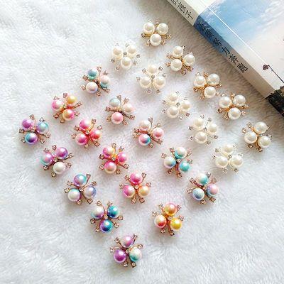diy和风发饰材料合金镶钻花盘扣手工制作配件三颗珍珠配饰花心