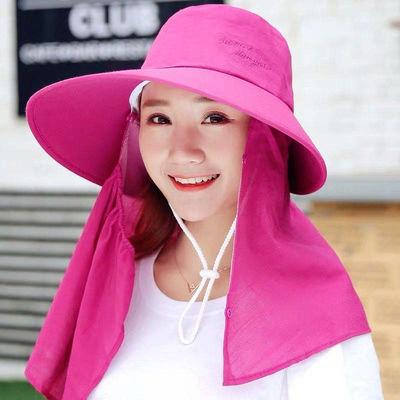 防晒帽子女夏天遮阳帽骑车遮脸太阳帽户外防紫外线凉帽采茶帽