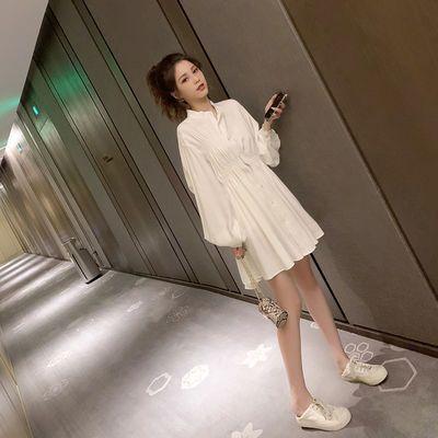 2019秋装新款韩版白色衬衫连衣裙女学生宽松立领灯笼袖白色裙子潮