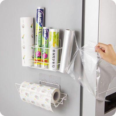 家居用厨房保鲜膜收纳架铁艺冰箱侧壁挂架卫生间纸巾置物架卷