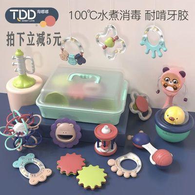 新生儿手摇铃玩具初生婴儿益智早教宝宝8安抚可咬1岁牙胶0-3个月6