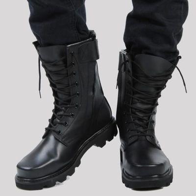 正品牛皮男靴钢头钢底马丁靴男高帮户外工装鞋真皮男士机车皮靴子