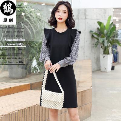 格子拼接连衣裙女韩版百搭2020春季新款潮流减龄显瘦连衣裙灯笼袖