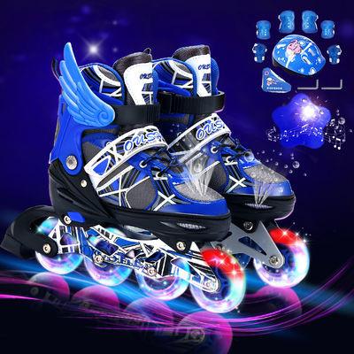 溜冰鞋儿童全套滑冰鞋单排轮滑鞋闪光旱冰鞋男女滑轮鞋初学者可调