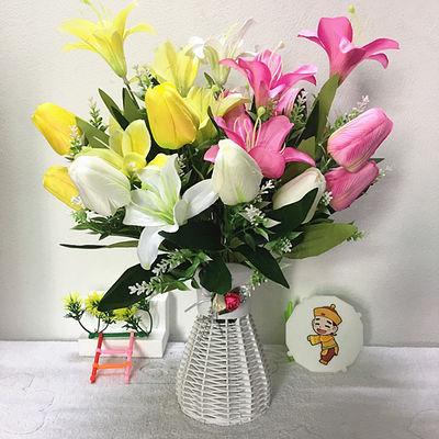 郁金香组合花搭配花瓶家居客厅餐桌装饰花摆件花仿真花假花百合