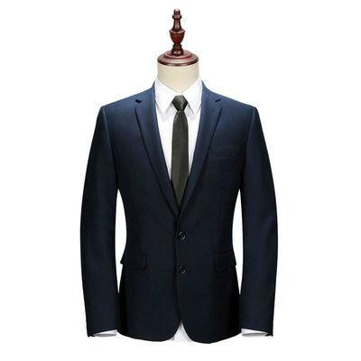 春季男士西服套装灰色职业商务正装韩版修身新郎结婚礼服窄领西装