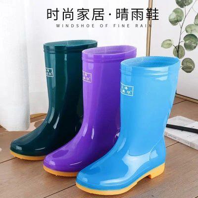 新款中筒加绒雨鞋雨靴防水鞋胶鞋套鞋水靴女时尚成人防滑高筒雨鞋